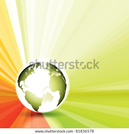 Raster Version of Glow Globe With Sun Rays - stock photo