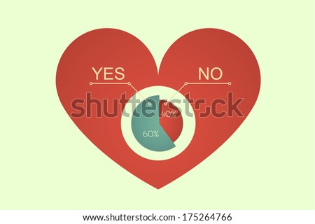 raster version of  heart decision making process with pie diagram - stock photo