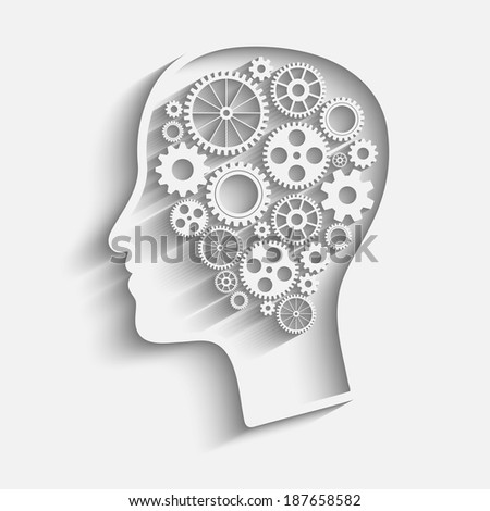 Raster version of Human head  with set of gears as a symbol work of brain