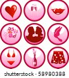 Raster version of 9 Icon Buttons for Valentine's day or love. - stock photo