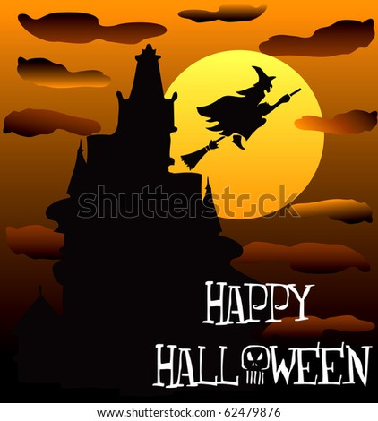 Raster version of Illustration of a Happy Halloween Haunted House 2. - stock photo