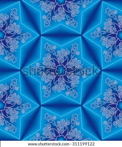 raster version of oriental seamless background  - stock photo