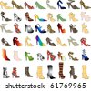 Raster version of 48 patterned shoes. Shoe Silhouettes 3. - stock vector