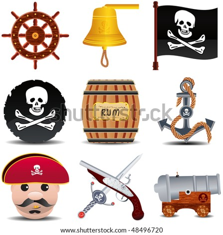 raster version of pirate icon set, part 3 of 3 - stock photo