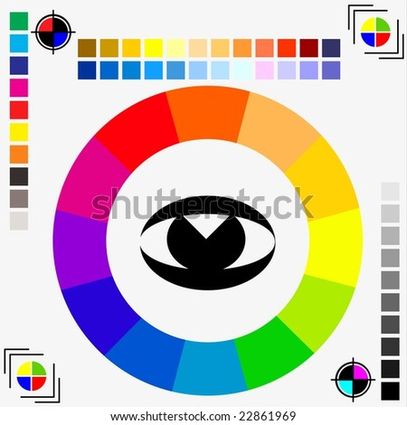 raster version of RGB/CMYK pallete swatch - eye watching concept - also available as JPEG - stock photo