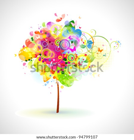 raster version of summer composition with multicolor tree - stock photo