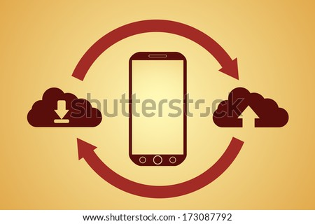 raster version of sync sign with cloud, cloud computing concept - stock photo