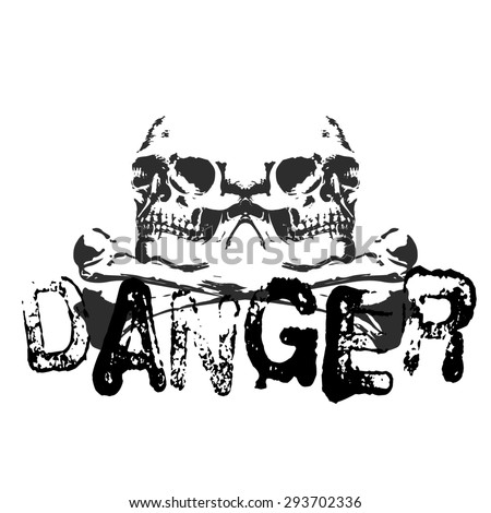 Raster version of the danger of double the original font skull and crossbones image on a t-shirt - stock photo