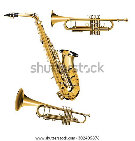 Raster version of trumpet in different projections with silver and gold items Saxophone - stock photo