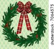 Raster version of vector Christmas fir wreath (contain the Clipping Path) - stock photo