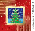 Raster version of vector Christmas & New Year's card - stock photo