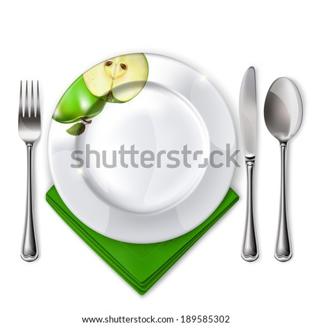 Raster version of vector empty plate with spoon, knife and fork on a white background.  - stock photo