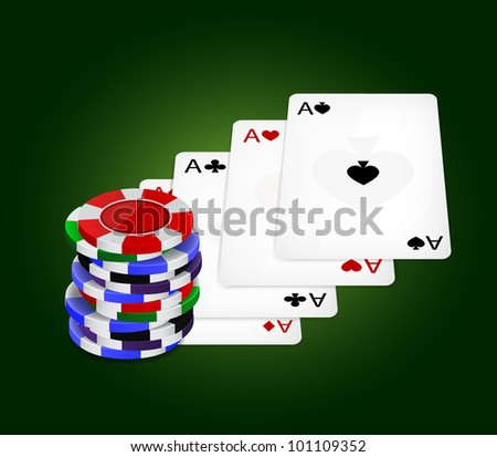 Raster version of vector four aces and chips - stock photo