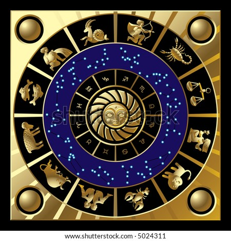 Raster version of vector gold circle with the signs and the constellations of the zodiac (contain the Clipping Path of all objects) - stock photo