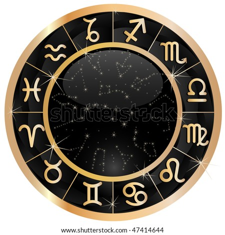 Raster version of vector Gold zodiacal circle with zodiac sign - stock photo