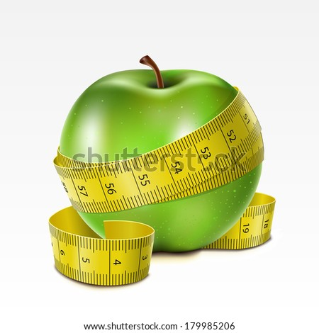 Raster version of vector green apple with centimeter on a white background - stock photo