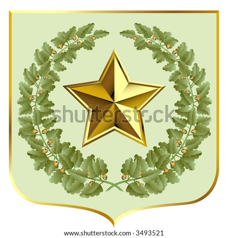 Raster version of vector green oak and a gold star on a escutcheon (contain the Clipping Path of all objects) - stock photo