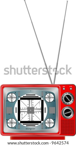 raster version of vector illustration of vintage red television - stock photo
