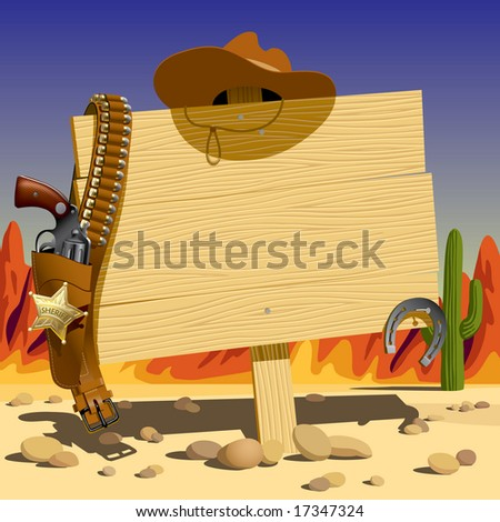 Raster version of vector illustration with a wood sign in the Wild West - stock photo