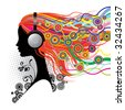 Raster version of vector image of a girl with head-phones - stock photo