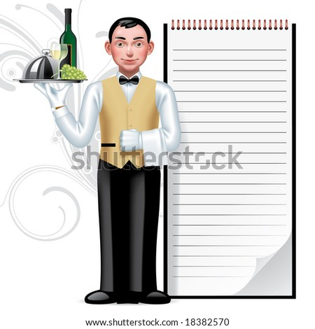 Raster version of vector image of a young waiter & writing pad - stock photo