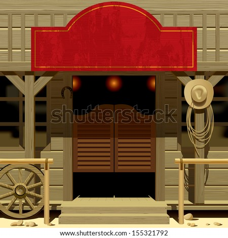 Raster version of vector image of the door of the Saloon in Wild West with a red signboard - stock photo