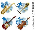 Raster version of vector musical icons - stock photo
