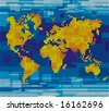 Raster version of vector pixel world map - stock photo