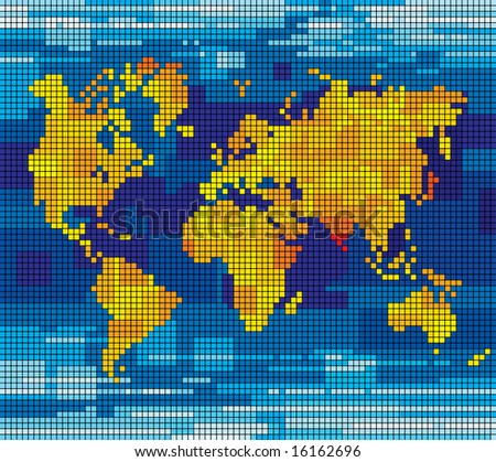 Raster version of vector pixel world map