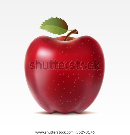 Raster version of vector red apple on a white background - stock photo