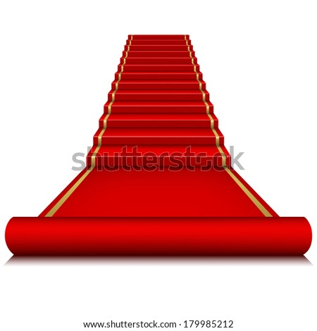 Raster version of vector red carpet with ladder.  - stock photo