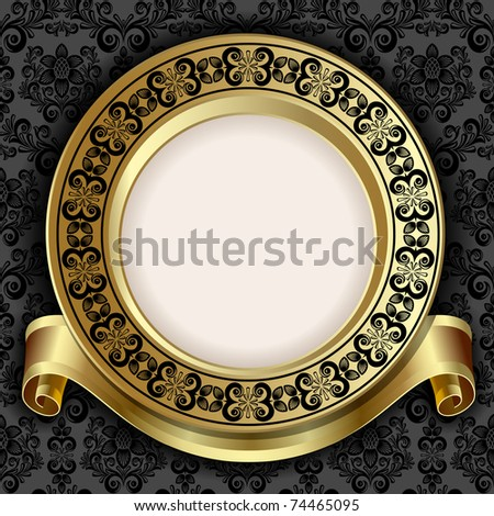Raster version of vector retro frame on the black floral background