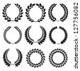Raster version of vector set from  black laurel wreath on the white background - stock vector