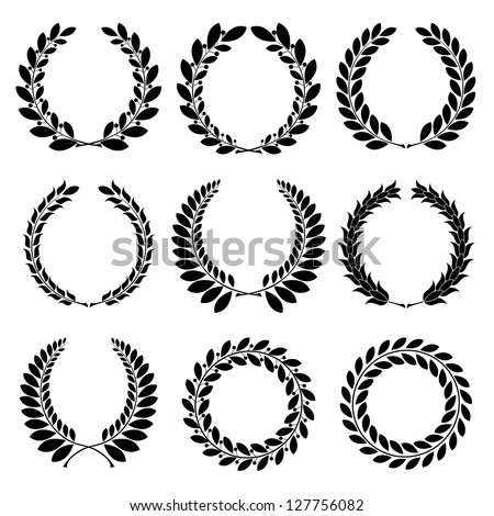 Raster version of vector set from  black laurel wreath on the white background - stock photo