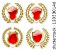 Raster version of vector set of heraldic gold and red design elements - stock photo