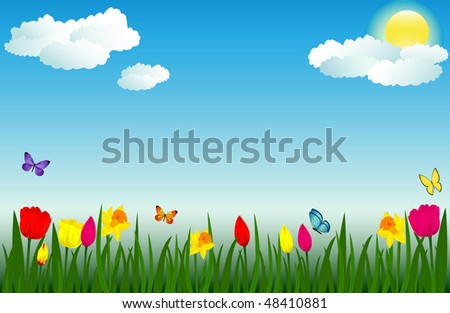 Raster version of vector Spring scene with flowers and butterflies