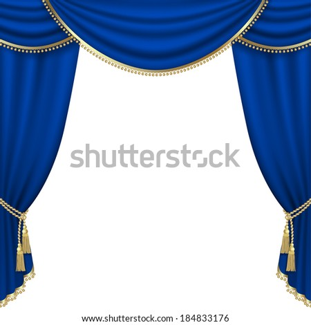 Raster version of vector theater stage  with blue curtain. - stock photo