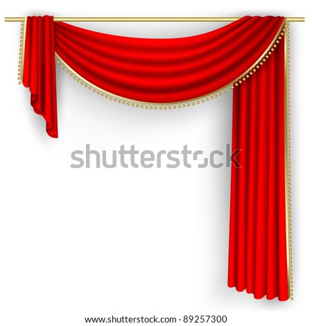 Raster version of vector theater stage  with red curtain. - stock photo
