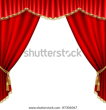 Raster version of vector theater stage  with red curtain. Isolated on white. - stock photo