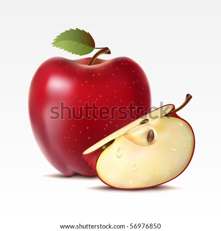 Raster version of vector two red apples on a white background - stock photo