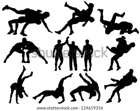 Raster version of wrestling silhouettes. This could stand for greco-roman, freestyle, collegiate, scholastic, amateur wrestling or MMA. - stock photo