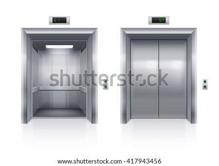 Raster version. Open and Closed Modern Metal Elevator Doors on White Background - stock photo