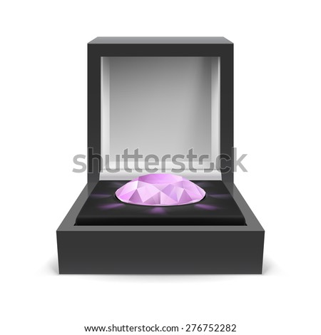 Raster version. Open box for jewelry with diamond inside on white background