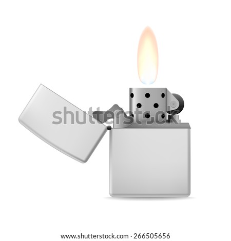 Raster version. Open metal lighter with flame on white background.