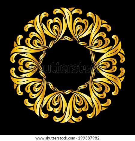 Raster version. Ornate florid pattern in gold colors. Illustration on black background - stock photo