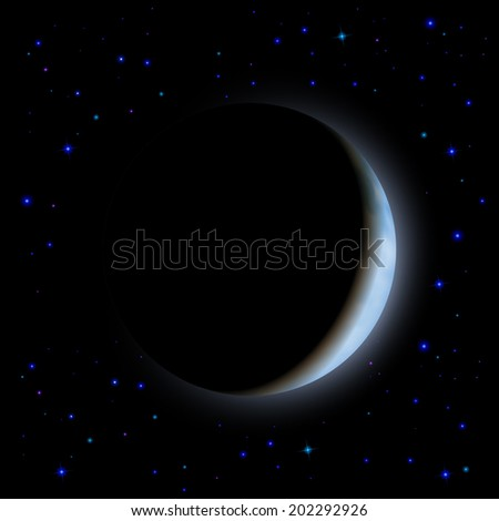 Raster version. Partial eclipse of the moon in shadow space left side - stock photo