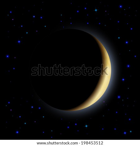 Raster version. Partial eclipse of the moon in shadows space - stock photo