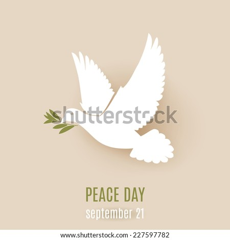 Raster version. Peace day design with flying white dove with green twig in its beak  - stock photo