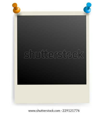 Raster version. Photo frame pinned on the wall. Illustration on white.  - stock photo