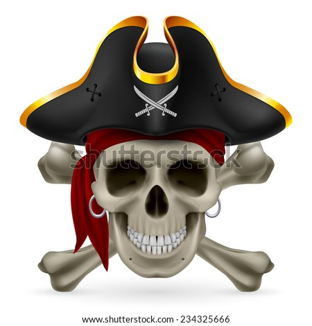 Raster version. Pirate skull in red bandana and cocked hat with crossed bones  - stock photo